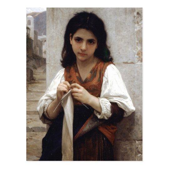 編み物をする少女 ポストカード