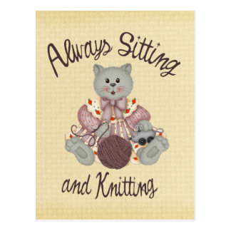 編み物猫 ポストカード