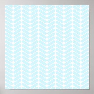 編むことによってインスパイアパステル調の青いジグザグパターン ポスター