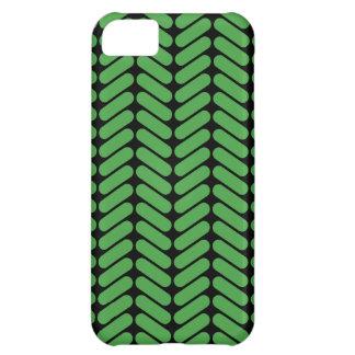 編むことによって元気を与えられるエメラルドグリーンのジグザグ形 iPhone5Cケース