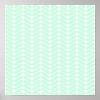 編むことのようなシェブロン真新しい緑のパターン、 ポスター