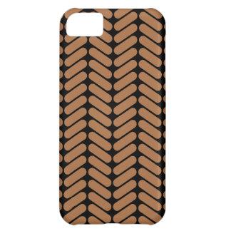 編むことのパターンと同じようなブラウンのシェブロン iPhone5Cケース