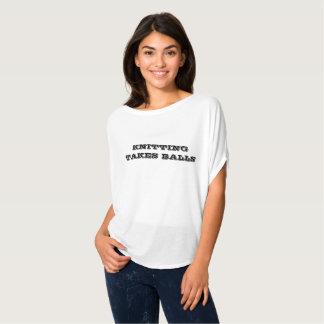 編むことは球Bellaを取ります Tシャツ