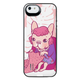 編むFrenchieおよび彼女のスカーフ iPhone SE/5/5sバッテリーケース