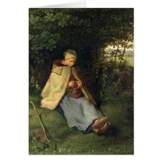 編機械か、着席させたShepherdess 1858-60年 カード