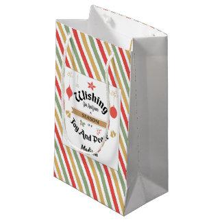 編集可能小さい光沢のあるクリスマスのギフトバッグ スモールペーパーバッグ