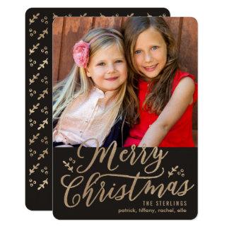 編集可能色のメリークリスマスの休日の写真カード カード
