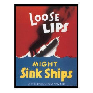 緩い唇の流しは世界大戦2を出荷します ポストカード
