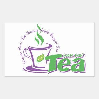緩い葉の茶 長方形シール
