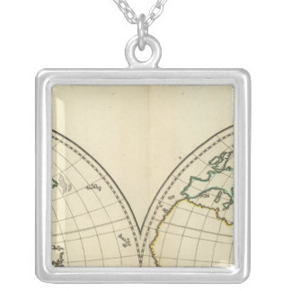 緯度およびLongititudeの世界地図 シルバープレートネックレス