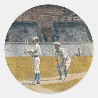 練習している野球選手-トマスEakins ラウンドシール
