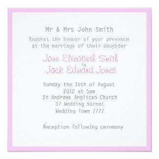 縁どられる淡い色のなユリのピンクの結婚式招待状 カード