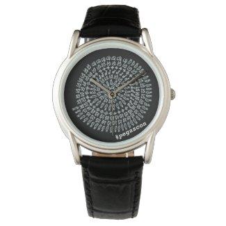 「縁結曼荼羅」黒地に白模様 腕時計