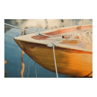 縛りつけられたボートのクローズアップ ウッドウォールアート