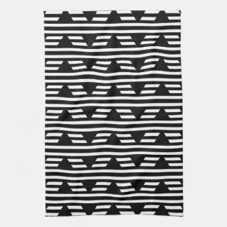 縞が付いている白黒幾何学的なパターン キッチンタオル