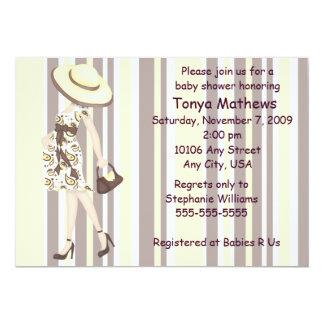 縞で飾り、ペイズリーのベビーシャワーの招待状(カリフォルニア) カード