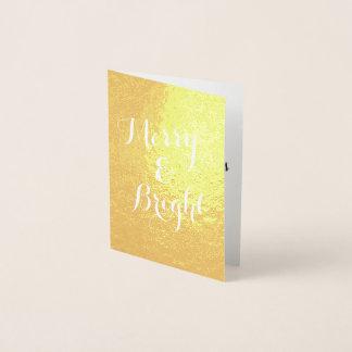 縦のメリーで、明るい金ゴールドのクリスマス 箔カード