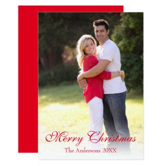 縦の写真の赤いメリークリスマスの休日カード カード