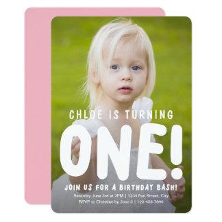 縦の完全な写真の最初誕生日の招待状 カード