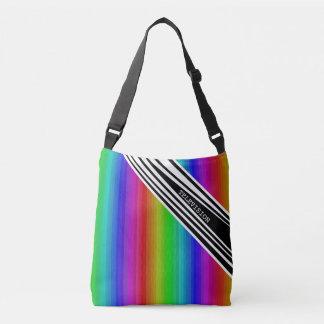 縦の把握虹TVの人種差別の芸術を縞で飾ります クロスボディバッグ