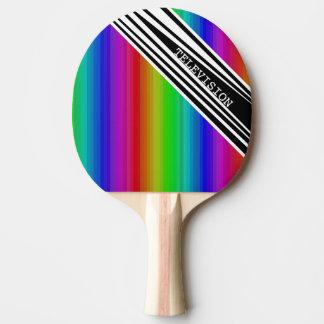 縦の把握虹TVの人種差別の芸術を縞で飾ります 卓球ラケット