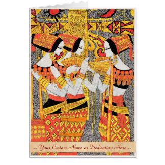 縦の歌の東洋のエジプトの女性女性の女の子 カード