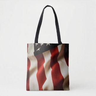 縦の米国旗 トートバッグ