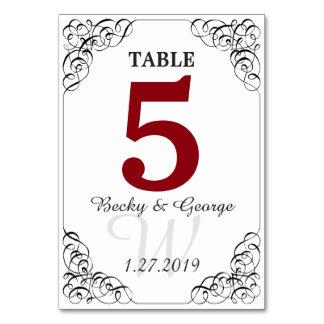 縦の赤と白のテーブルカード カード