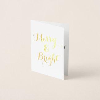 縦の金ゴールドのメリーで、明るいクリスマス 箔カード