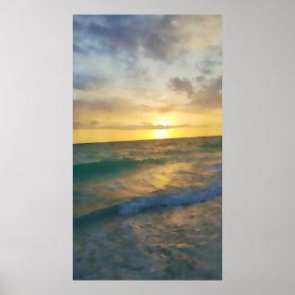 縦のaquarelleポスター: フロリダの海の日没 ポスター