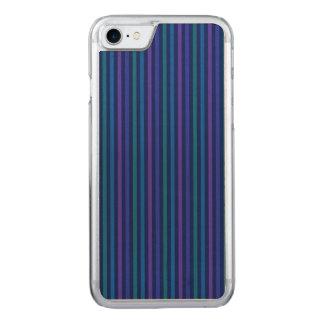 縦ストライプの青緑の紫色 CARVED iPhone 8/7 ケース
