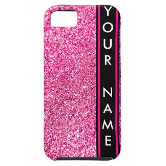 縦線のカスタマイズグリッターのピンクの背景 iPhone SE/5/5s ケース