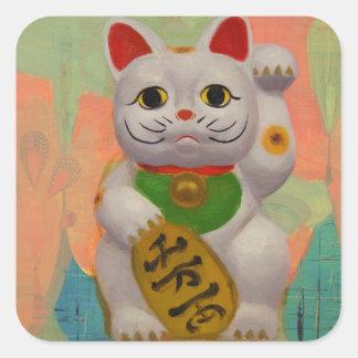 繁栄猫のステッカー スクエアシール