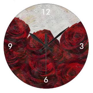 織られる赤いバラ油 ラージ壁時計