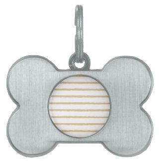 織り目加工のストライプのベージュ白く荒いラインパターン ペットネームタグ