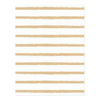 織り目加工のストライプのベージュ白く荒いラインパターン ポストカード