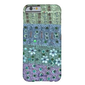 織り目加工のニットのスパンコールがついた花は青か緑に玉を付けました BARELY THERE iPhone 6 ケース