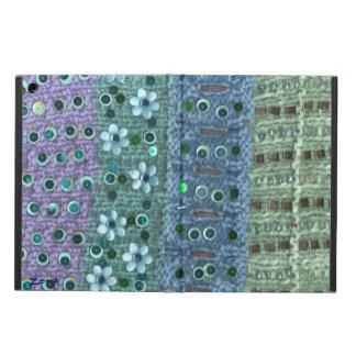 織り目加工のニットのスパンコールがついた花は青か緑に玉を付けました iPad AIRケース