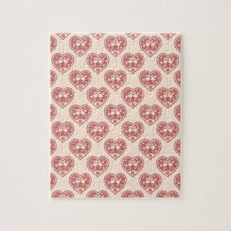 織り目加工のハートのフラミンゴ愛 ジグソーパズル