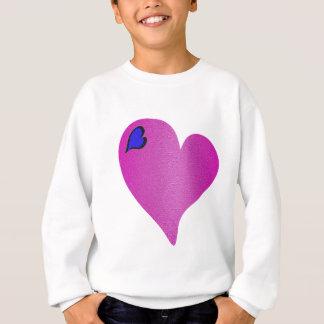 織り目加工のピンクのハート スウェットシャツ