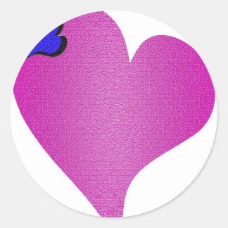 織り目加工のピンクのハート ラウンドシール