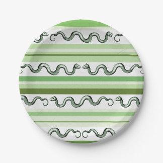 織り目加工の緑および白いヘビはおよび縞で飾ります ペーパープレート