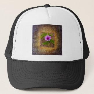 織り目加工の背景の朝顔の花 キャップ