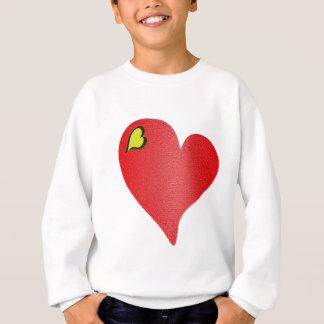 織り目加工の赤いハート スウェットシャツ
