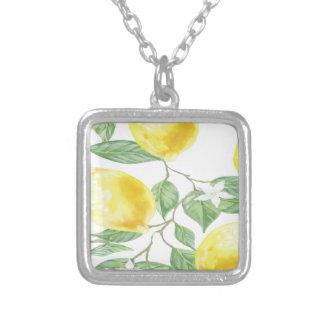 織布の葉の緑の黄色レモンフルーツ シルバープレートネックレス