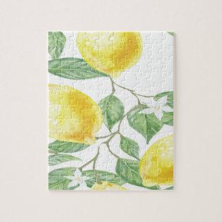 織布の葉の緑の黄色レモンフルーツ ジグソーパズル