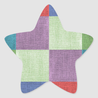 織物の粗く多彩な正方形 星シール