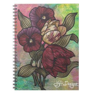 織物の芸術の花柄のノート ノートブック
