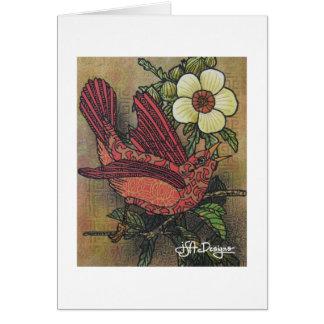 織物の芸術の鳥Notecard カード