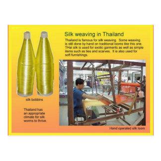 織物、ファッション、タイで編む絹 ポストカード